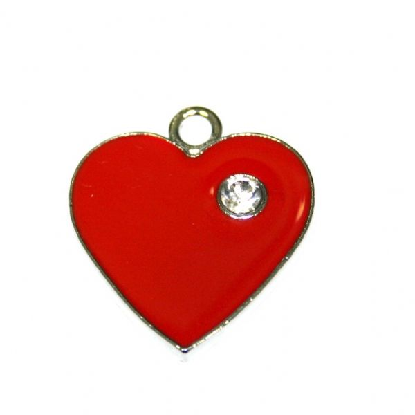 1 x 24*21mm rhodium plated red heart enamel charm with rhinestone - SD03 - CHE1006